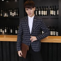 Wholesale Mens blazer and jacket new plaid red blue Green M XL Slim fit single breasted Korean fashion drop ship metal button