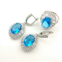 aqua gift boxes - Women s new AAA grade zircon jewelry set pigeon Water Blue Earrings Ring Size jewelry box