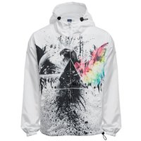 Wholesale Fall New Fashion Chic Hooded Long Sleeve D Print Ombre Wind Breaker for Men