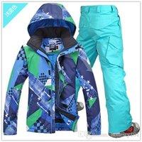Wholesale Gsou snow men ski suit male skiing set snowboarding mountain climbing suit mens blue ski jacket and pants waterproof K