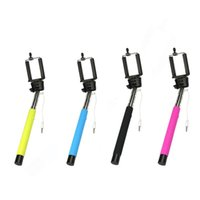 Wholesale Camera Monopods Wired Control Button Monopod Extendable Handheld Selfie Stick Cell Phone Clip Holder universal For iPhone Samsung android