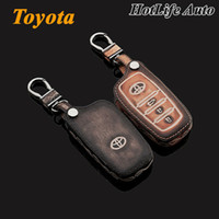 accessories camry - 2014 Toyota Corolla Camry Highlander Reiz Car Keychain Genuine Leather Carve Car Key Case Cover Key Chain Auto Accessories