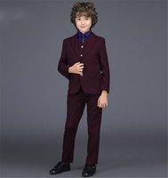 Wholesale Fashion One Button Boy Tuxedos Notch Lapel Children Suit Dark Red Kid Ring Wedding Prom Suits Jacket Pants Vest
