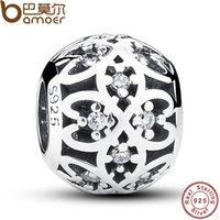 Wholesale Original Charm Fit Pandora Bracelet Sterling Silver Intricate Lattice Openwork Ball With Clear CZ DIY Jewelry PAS060