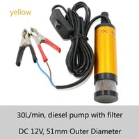 Wholesale 51mm outlet diameter L min flow V DC MINI Diesel Submersible Transfer Pump with battery clamp or Cigarette lighter with steel filter