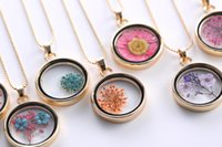 Cheap Fashion Jewelry 14k Gold Plated Dry Flower Floating Locket Glass Pendant Necklace 60cm Chain Mixed Pattern Wedding Gift Women