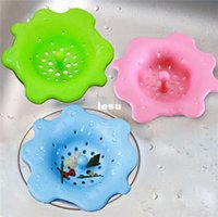 bath filters - New Arrive Sink drain flower shape silicone sewer drain handle design hair bath floor filter sink strainer kitchen tool