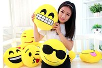 Wholesale 2016 Styles Cushion Cute Lovely Emoji Smiley Pillows Cartoon Facial QQ Expression Cushion Pillows Yellow Round Pillow Stuffed Plush Toy