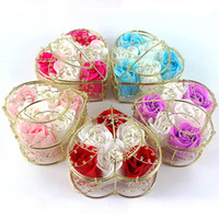 Wholesale 6PCS Together Best Wedding Gift Paper Rose Soap With Golden Heart Steel Box Best Wedding Favors Testimony of love