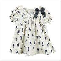 baby dress - 2016 New Baby Girl Kids Short Sleeve Deer Fawn Pattern Shirt Shirts Tops Children Clothing Cute Girl Ribbon Bowknot T shirt Dress T