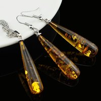 baltic amber jewelry - Women s Chic Tear Drop Baltic Amber k Platinum Plated Pendant Necklace Earring Wedding Jewelry Set L40601