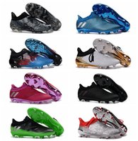 Wholesale 2016 Mens football soccer shoes Messi cleats x16 Pureagility FG AG Pink football boots ankle soccer cleats Black football cleats Original