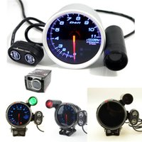 Wholesale 3 quot mm Blue Led DE Style Tachometer Rpm Gauge Stepper Motor With Peak And Waring Cylinder V Auto Gauge