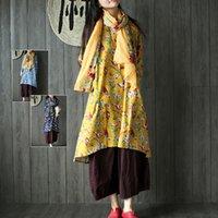 Wholesale Chinese wind original design literature printed cotton round neck birds loose dress was thin skirt autumn