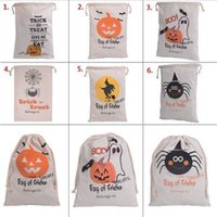 bats candy - 2016 Halloween Candy Gift Sack Treat or Trick Pumpkin Printed Bat Canvas Bag Children Party Festival Drawstring Bag