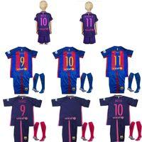 Wholesale A quality Uniforms Barcelona Kit Jerseys Socks Youth Kids Suarez Messi Neymar JR Gomes Umtiti Purple Away Jersey