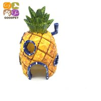 Wholesale 1Pcs Mini Pineapple Cartoon House Home Fish Tank Aquarium Ornament Decorations Escape Hole