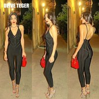 Wholesale DEIVE TEGER Summer Brand New Sexy Solid Color Backless Deep V Neck Fashion Bandage Rompers Women Jumpsuit HL2086