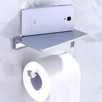 Wholesale Polish Chrome Roll Toilet Paper Tissue Holder Wall Mounted Brass Mobile Phone Holder Bathroom Shelf