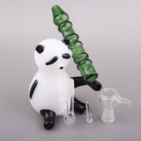 bamboo green panda - 2016 Glass Smoking Pipes Creative Panda Holding Bamboo style Oil Rigs Pipes For Smoking Glass Pipes Glass Pipe g Weight