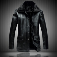 Wholesale 2016 Winter Brand New Leather Thick Warm Wool Liner Men S Suede Lambskin Leather Coat Fur Collar Jacket For Men M XL XL X7