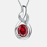 anniversary gem stones - Titanium Natural Ruby stone w white Gem stone Necklace and adjustable chain Titanium Plated Triple Layers Platinum