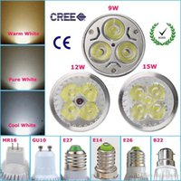 Wholesale 10pcs Dimmable Led Lamp W W W MR16 GU10 E27 V V V Led spot Light Spotlight led bulb Super Bright