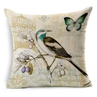 Wholesale Retro hand painted birds and flowers sofa cushion cover pillow case without pillow