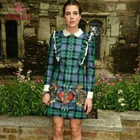 arrow tiger - love heart arrows tigers embroidery petal pan collar green plaid dress ruffles shoulder english plaid dresses high quality