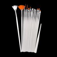 achat en gros de gel brosse à ongles d'art ensemble-15pcs acrylique Professional Nail Art Brush Set design peinture Dotting Pen Blanc Rose Nail Art Pinceaux Pen pour Gel Polish Faux Ongles 0603027