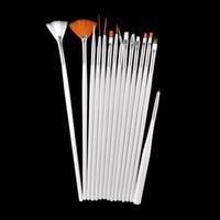 no acrylic paint nail polish - 15pcs Professional Acrylic Nail Art Brush Set Design Painting Dotting Pen White Pink Nail Art Brushes Pen for Gel Polish False Nails