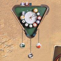antique billiards - Creative Billiards Model study and bedroom wall clock pointer European fashion fun personality ultra quiet