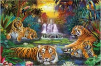 Wholesale 5D Needlework Diy Diamond Painting Cross Stitch Full Diamond Tiger Diamond Embroidery Kits Diamond Mosaic Home Decoration