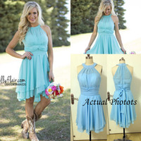 western wear - 2016 New Light Blue Country Bridesmaid Dresses Short Cheap Jewel Neck Western Wedding Guest Wear Plus Size Knee Length Maid of Honor Gowns