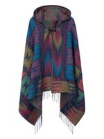 Wholesale Big scarves winter scarf cashmere poncho women Bohemian Shawl Scarf Tribal Fringe Hoodies blankets Cape shawl Ponchos and Capes