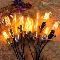 Wholesale Retro Incandescent Vintage Light Bulb ST64 G80 T10 T45 DIY Handmade Edison Bulb Fixtures E27 V V W lamp Bulbs Pendant Lamps