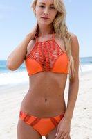 beachwear jewelry - 2016 High Neck Halter Bikini Set Swimsuit Women Retro Bathing Suit Jewelry Print Sexy Girl Swimwear Push Up Brazilian Beachwear Colors SML