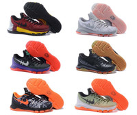 Cheap High quality kevin durant kd 8 mens basketball shoes boy kd8 basketbll sneakers USA independence bright crimson hunt's hill night euro 40-46