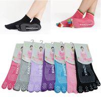 achat en gros de caoutchouc respirante-Chaussettes professionnelles Yoga Yoga 5 Doigts Anti Slip Caoutchouc Silicone Dots Sports Exercise respirant Chaussettes