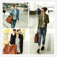 Wholesale Women fall short coat jacket jacket black green blue color of cultivate one s morality slim like