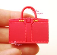Wholesale Dolls Accessories Doll Houses scalee Dollhouse Miniature Toy Plastic Lady handbag red for dolls handbag handle