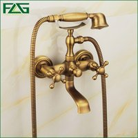 Wholesale FLG New Arrival Rain Shower Faucets Mixer Tap Handheld Antique Brass Wall Mounted Bath Shower Faucet Set Bathtub Faucet HS022