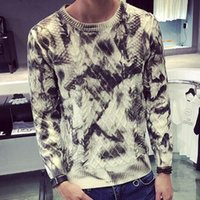 basics paints - New Fall Fashion Mens Snakeskin Print Casual Pullover Sweater European Brand Autumn Oil Painting Basic Jumpers For Man