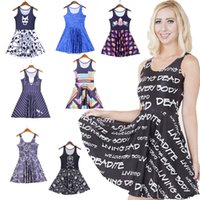adult slogans - NEW Style Sexy Girl Women Summers Slogan Everybody living dead D Prints Reversible Sleeveless Skater Pleated Casual Dress Plus Size