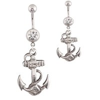 anchor belly ring - Attractive Anchors Dangle Belly Button Rings Body Piercing silver Sexy Navel rings