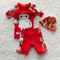 Wholesale Cartoon baymax printed sun protection kids swimwear Boy sandbeach chinlon material swim trunks set with bathing cap