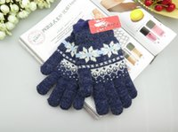Wholesale High Quality Double Warm Rabbit Wool Blend Jacquard Kintting Gloves Unisex Gloves DHL Free