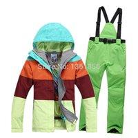 Wholesale new fashion outdoor winter ski jacket ski pant one set for women skiing snowboard waterproof windproof warm