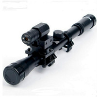 Cheap 4x20 Air Gun Rifle Optics Scope Tactical Riflescope with Red Dot Laser Sight and 11mm Rail Mounts for 22 Caliber Guns Hunting A