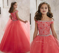 Wholesale Girls Pageant Dresses With Bling Beads New Arrival Off Shoulder Crystal Tulle Formal Party Dress Floor Length